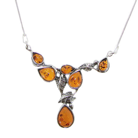 Cognac Amber .925 Silver Leaf Design Necklace