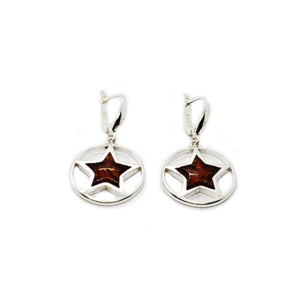 Cognac Amber Sterling Silver Star Earrings