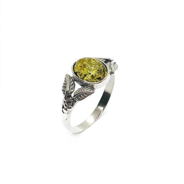 Green Amber Oxidized Silver Leaf Design Ring