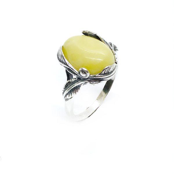 Butterscotch Amber Leaf Design Silver Ring