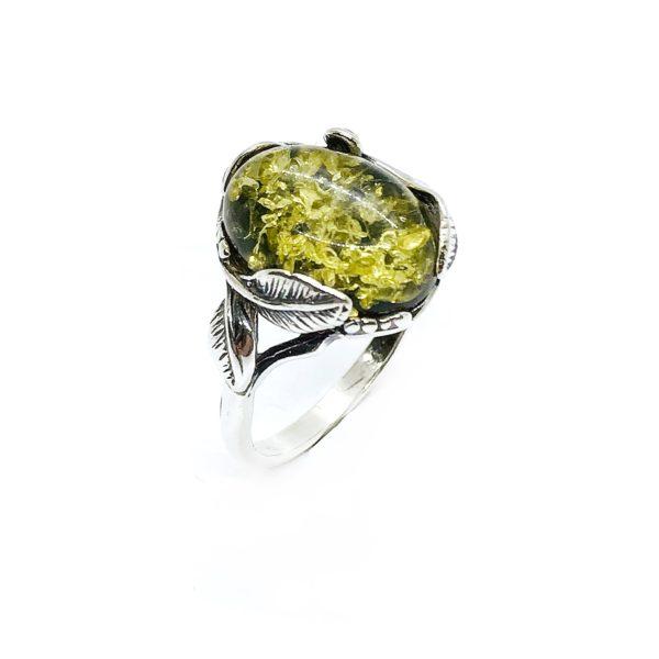 Green Amber Leaf Design Silver Ring