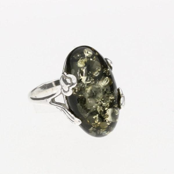 Green Amber Flower Design .925 Silver Large Ring