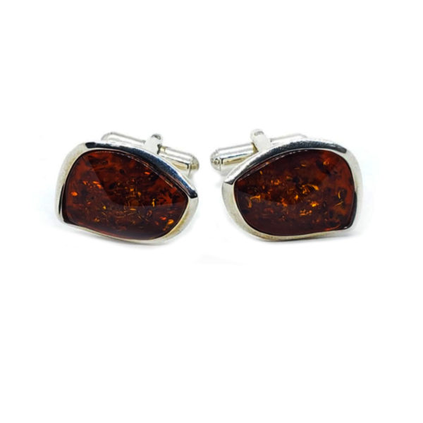 Cognac Amber Sterling Silver Cuff Links
