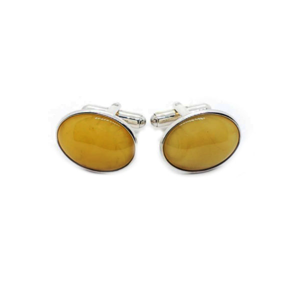 Butterscotch Oval Amber Cuff Links