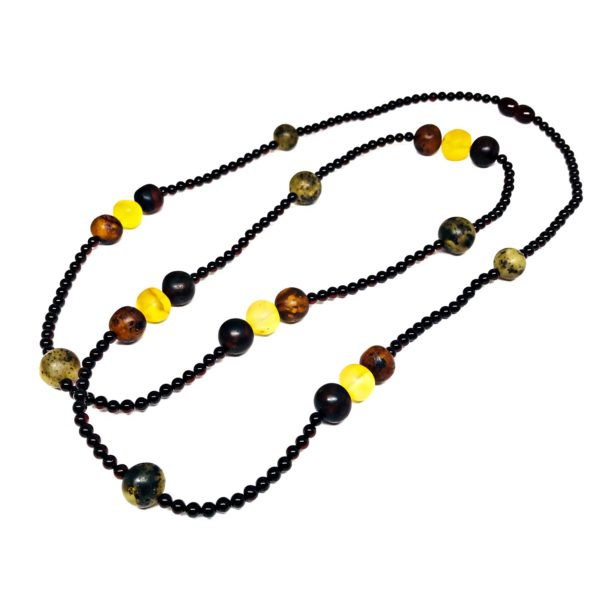 Multi Color Amber Bead Necklace 34""