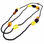 """Multi Color Amber Bead Necklace 46"""""""