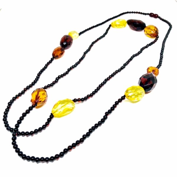 Multi Color Amber Bead Necklace 46""