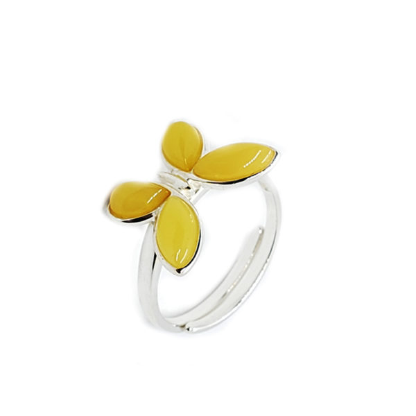Butterscotch Amber Butterfly Adjustable Ring