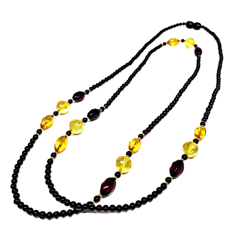 """Multi Color Amber Bead Necklace 34"""""""
