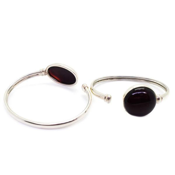 Cherry Amber Sterling Silver Cuff Bracelet