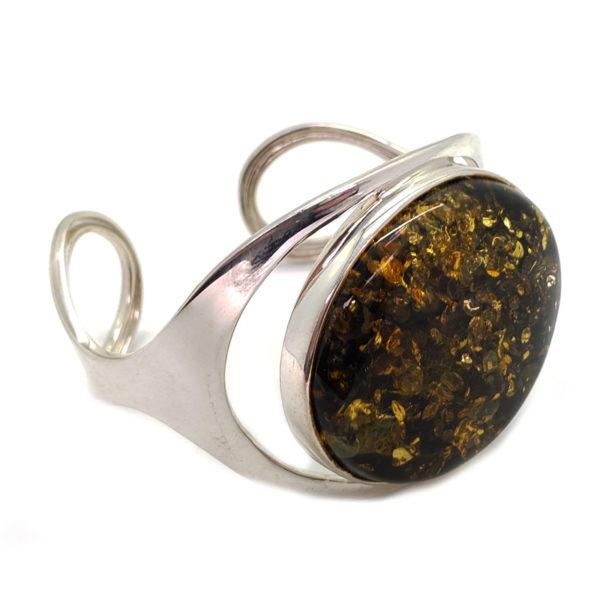 Green Amber Sterling Silver Cuff Bracelet