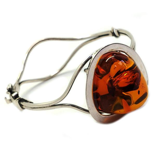 Cognac Amber Stereling Silver Cuff Bracelet