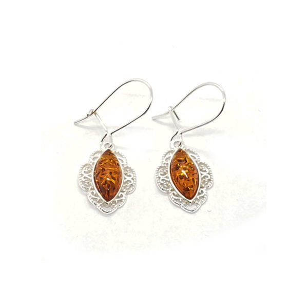Cognac Amber Filigree Silver Earrings