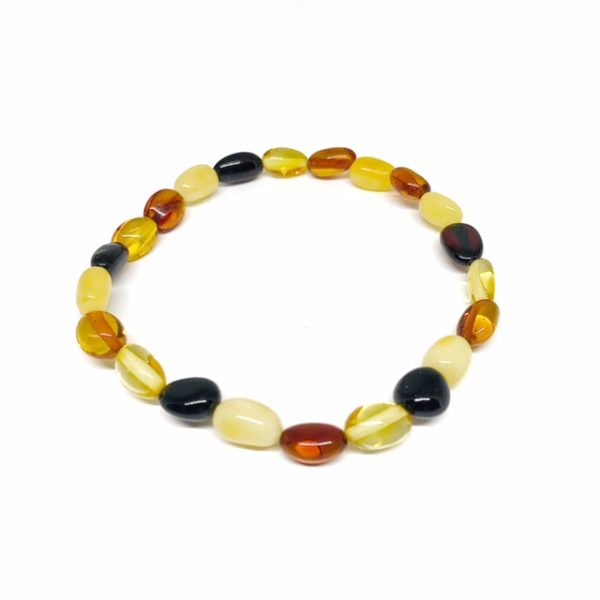 Multi Color Amber Small Stretch Bracelet