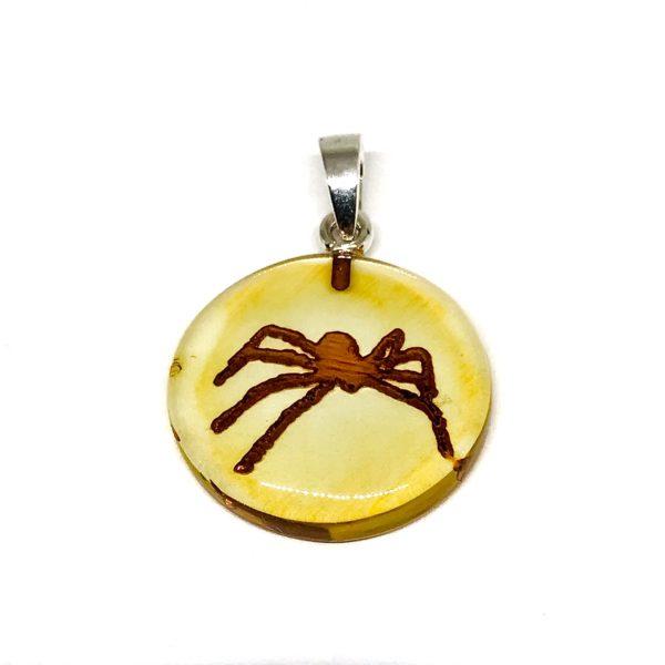 Spider Intaglio/Cameo Amber Pendant