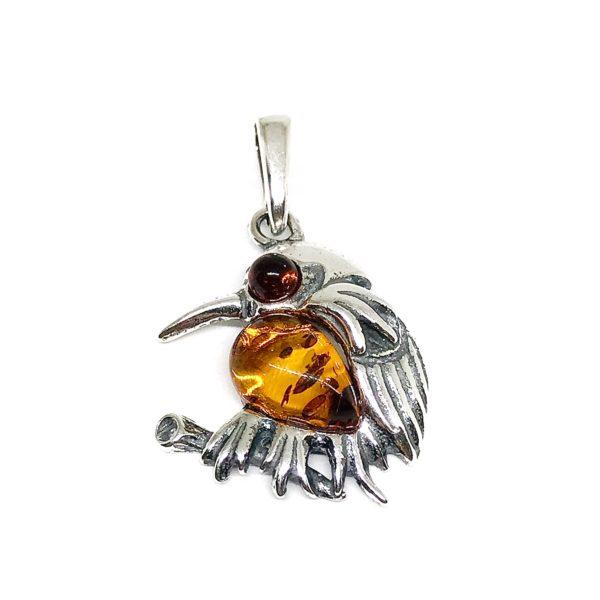 "Cognac Amber Sterling Silver ""Bird"" Pendant"