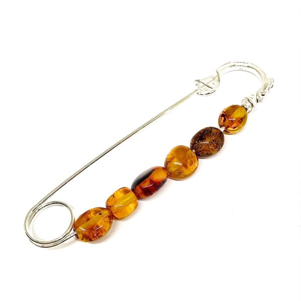 Cognac Amber Safety Pin /Brooch