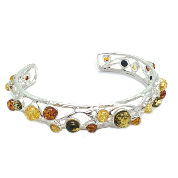 Multi Color Amber Sterling Silver Cuff Bracelet
