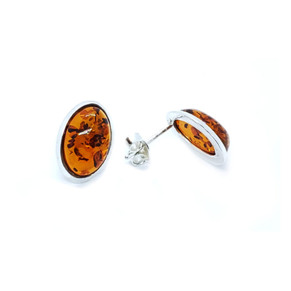 Cognac Amber Oval Stud Earrings