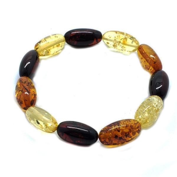 Multi Color Amber Large Stretch Bracelet