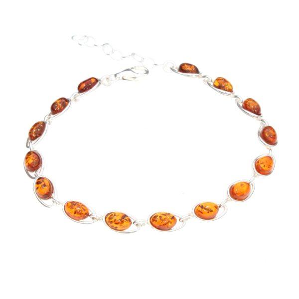 Cognac Amber .925 Silver Link Bracelet
