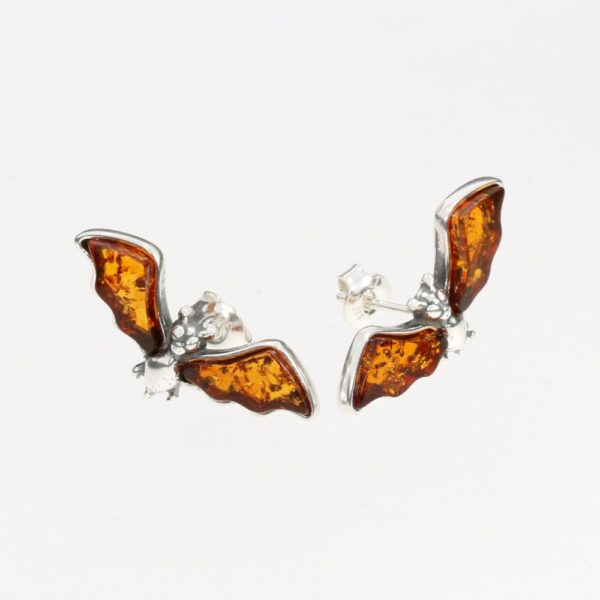 Cognac Amber Small Bat Stud Earrings