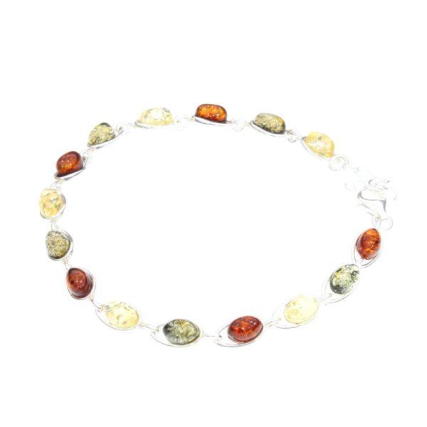 Multi Color Amber .925 Silver Link Bracelet