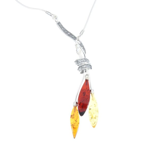 Multi Color Amber Sterling Silver Modern Necklace