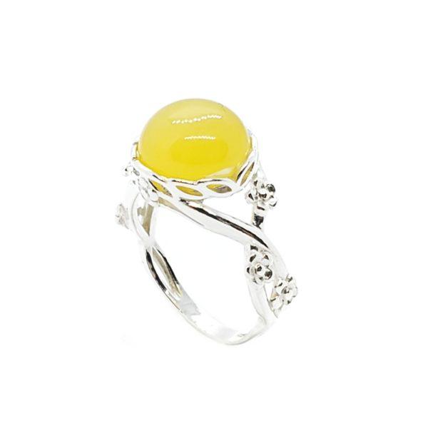Butterscotch Amber Flower Design Silver Ring