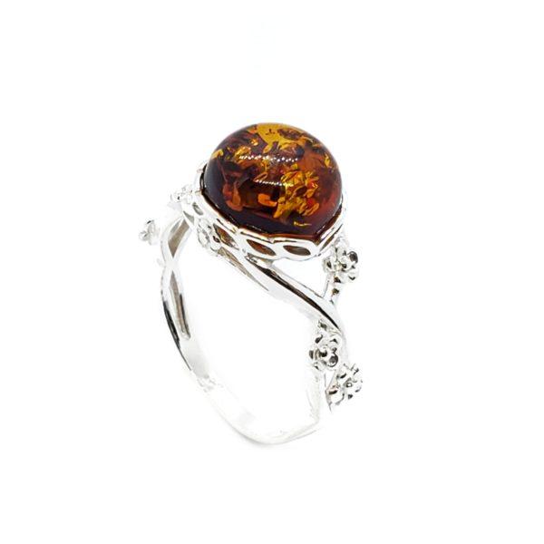 Cognac Amber Flower Design Silver Ring