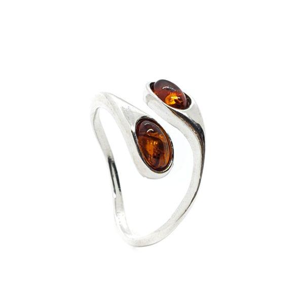 Cognac Amber .925 Silver Adjustable Ring
