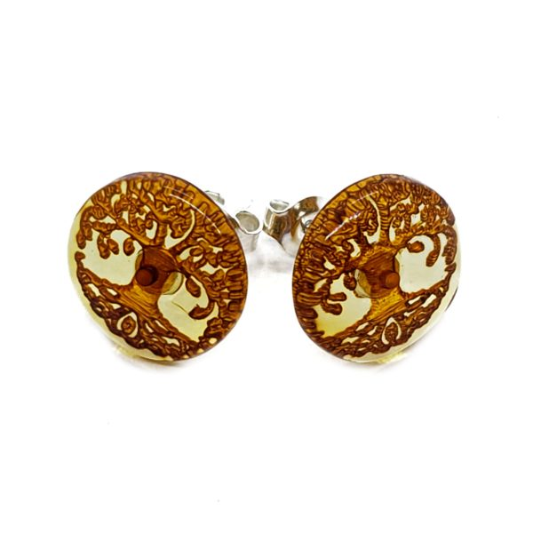 Tree Of Life Cameo Amber Earrings