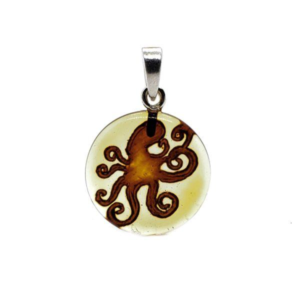 Octopus Intaglio/Cameo Amber Pendant