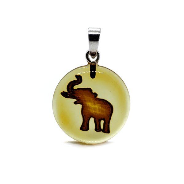 Elephant Intaglio/Cameo Amber Pendant