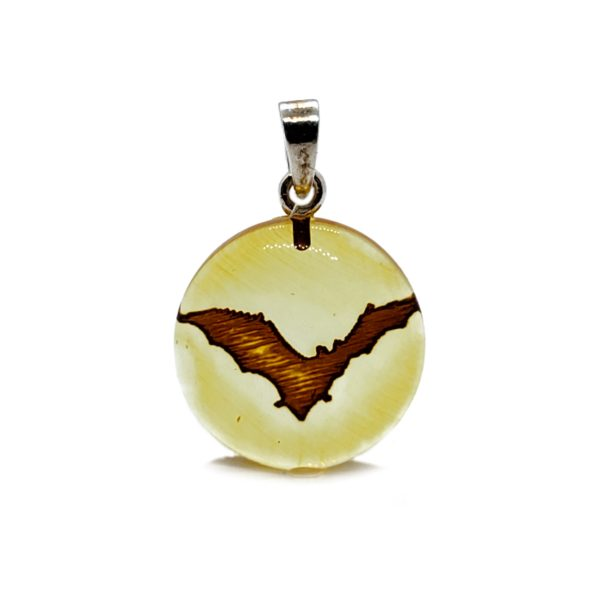 Bat Intaglio/Cameo Amber Pendant