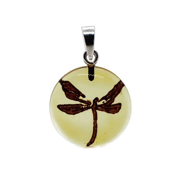 Dragonfly Intaglio/Cameo Amber Pendant