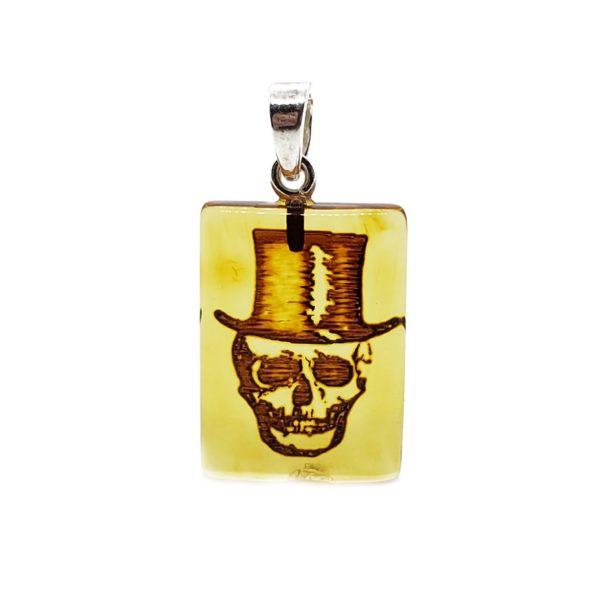 Skull Intaglio/Cameo Amber Pendant