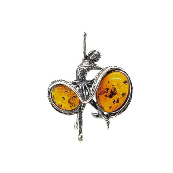 Cognac Amber Oxidized Silver Ballerina Pin/Brooch
