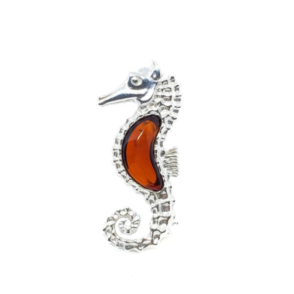 Cognac Amber Sterling Silver Seahorse Pin/Brooch