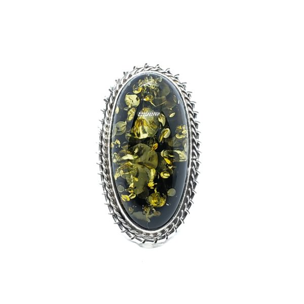 Green Amber Sterling Silver Pin/Pendant