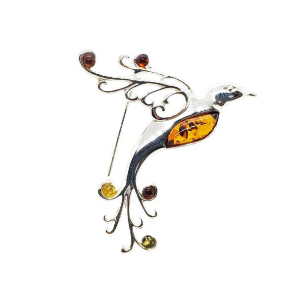 Multi Color Amber .925 Silver Phoenix Bird Pin