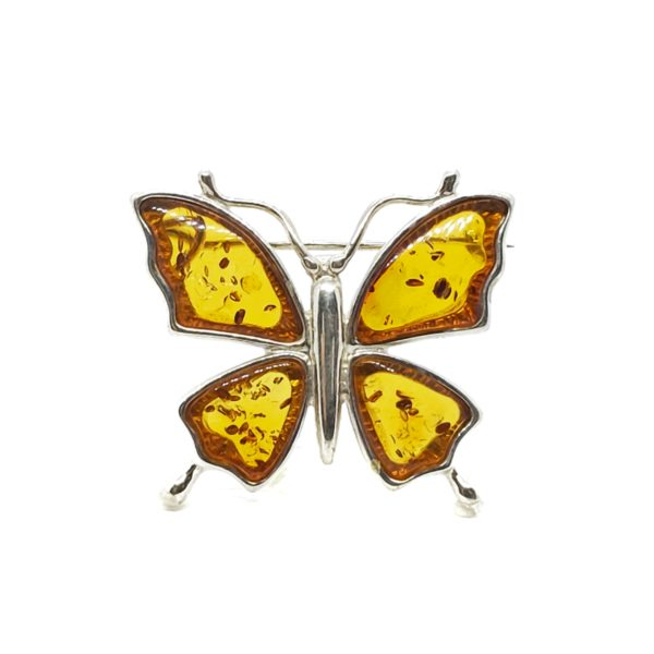 Cognac Amber Sterling Silver Butterfly Pin/Brooch