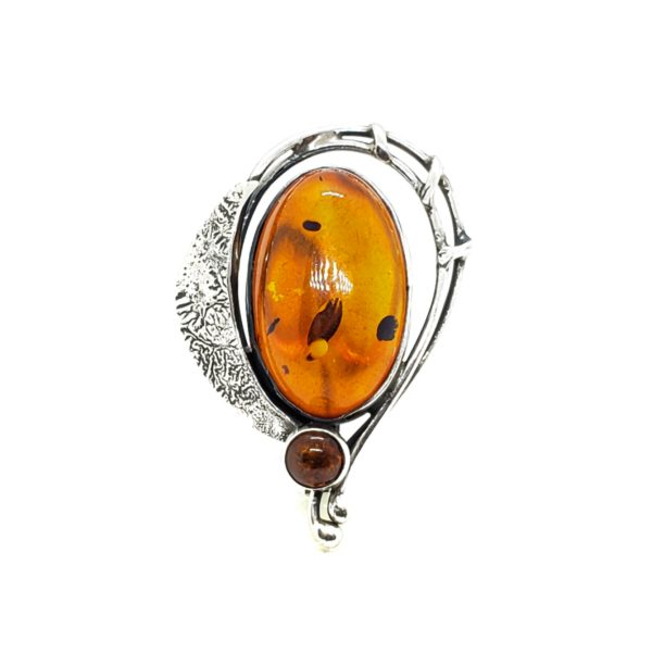 Cognac Amber Sterling Silver Pin/Pendant