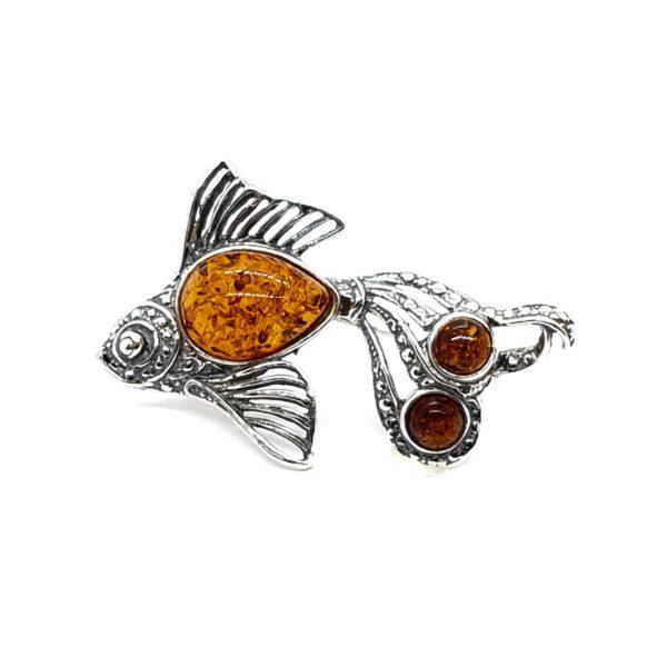 Cognac Amber .925 Silver Goldfish Pin/Brooch