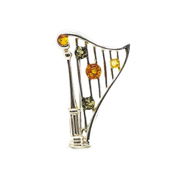 Multi Color Amber .925 Silver Harp Pin/Brooch