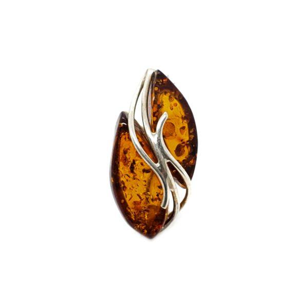 Cognac Amber Sterling Silver Pin/Brooch