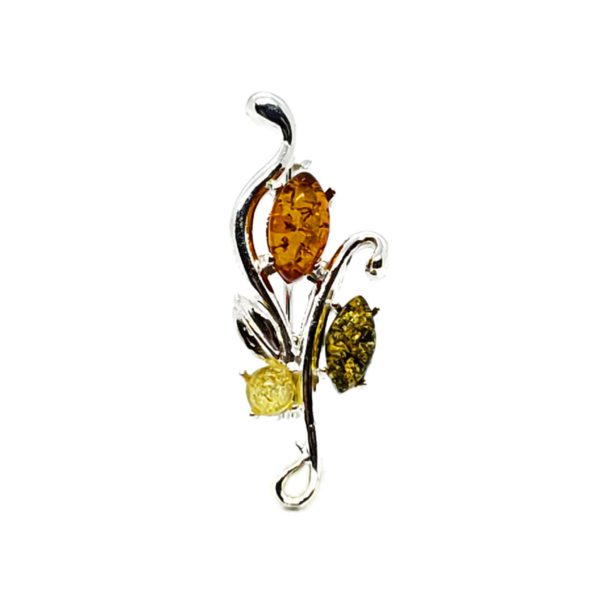 Multi Color Amber Sterling Silver Pin/Brooch