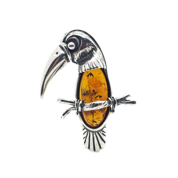Cognac Amber .925 Silver Toucan Pin/Brooch