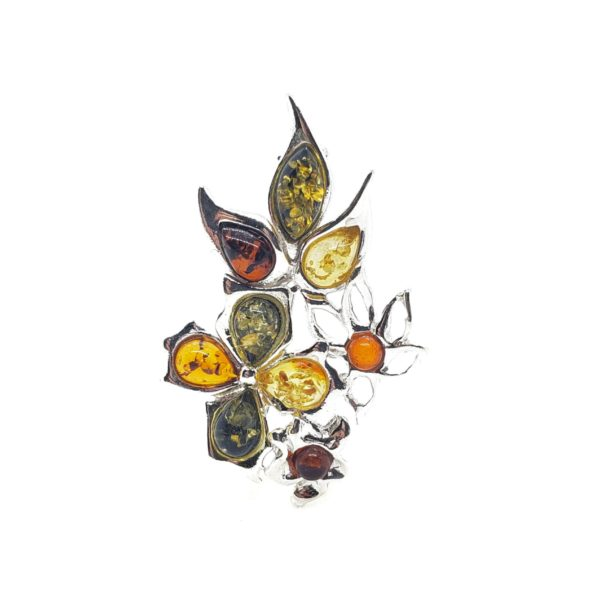 Multi Color Amber .925 Silver Flower Pin/Brooch