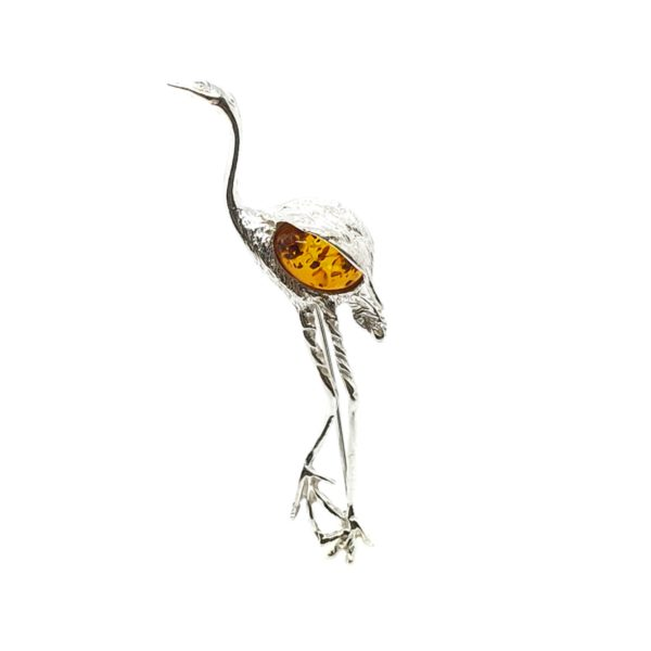Cognac Amber Sterling Silver Flamingo Pin/Brooch